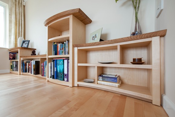 Maple and oak shelving, Cornwall