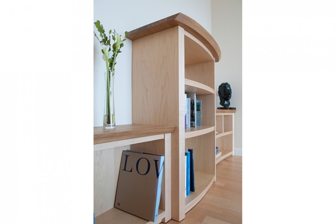 Bespoke shelving designed to reflect the movement of the sea, Cornwall
