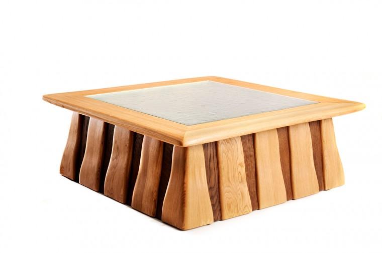 Bespoke furniture, Low table in Oak, Fumed oak and kiln formed glass. Penwith, Cornwall