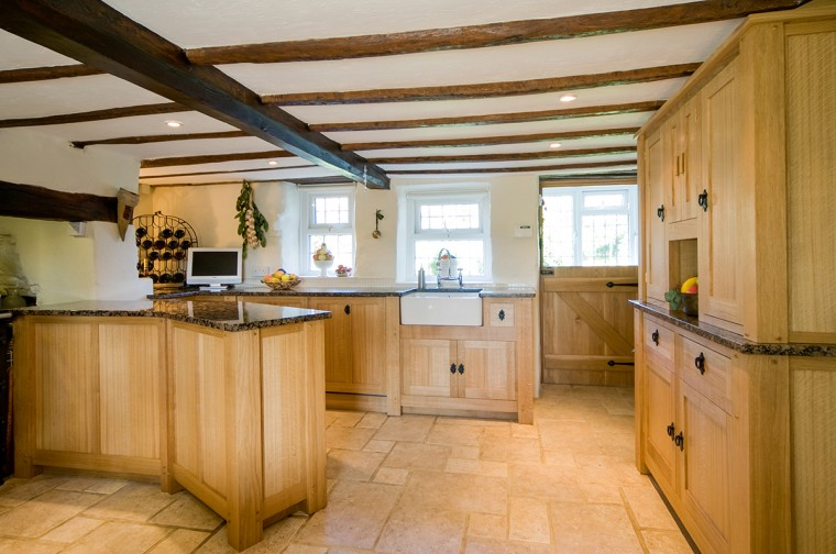 Solid oak kitchen, free standing, hand made in Redruth, Cornwall