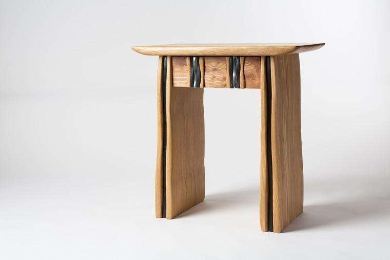 Cousin Jack console table. Oak and Cornish Tin. Bespoke furniture cornwall