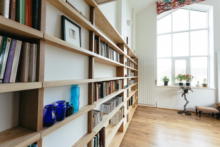 Solid wood bespoke shelving made in Redruth, cornwall