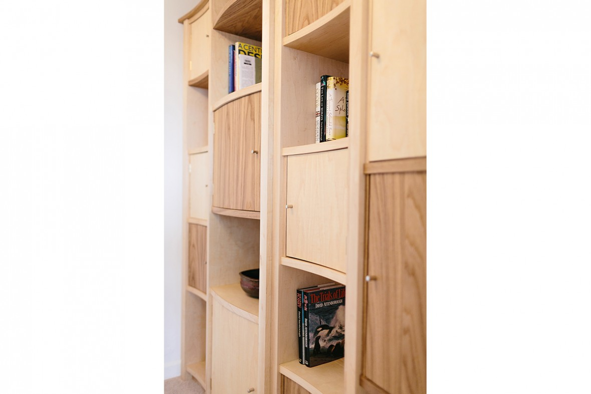 Maple and Oak bespoke shelving. Hand crafted and made to measure. West Cornwall.