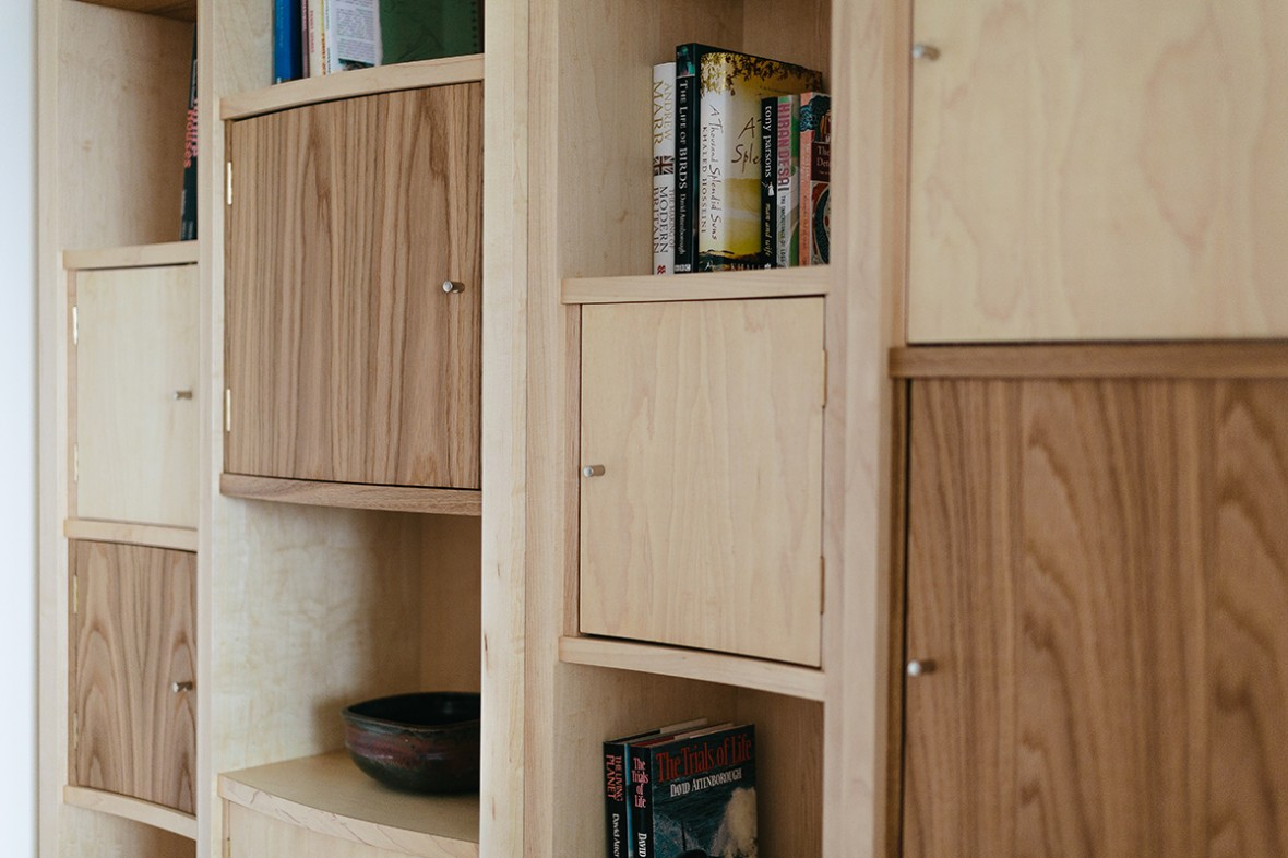 Maple and Oak bespoke shelving. Hand crafted and made to measure. West Cornwall
