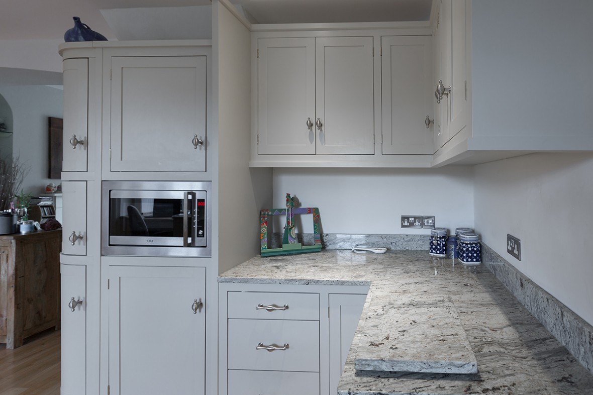 Kitchen with curved doors. Made in Redruth Cornwall