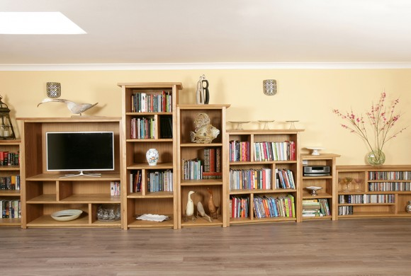 Curved shelving In Elm and Oak