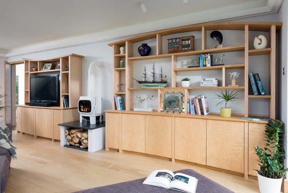 Bespoke shelving and media unit.