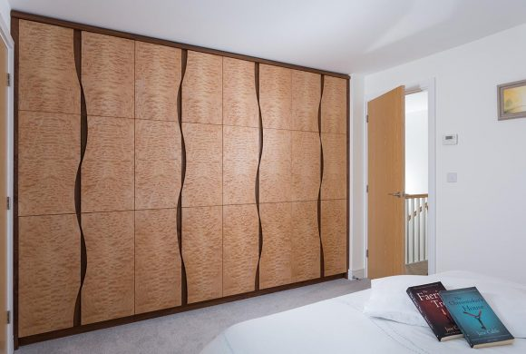 Fitted Bedroom Wardrobe in Quilted Maple and American Black Walnut